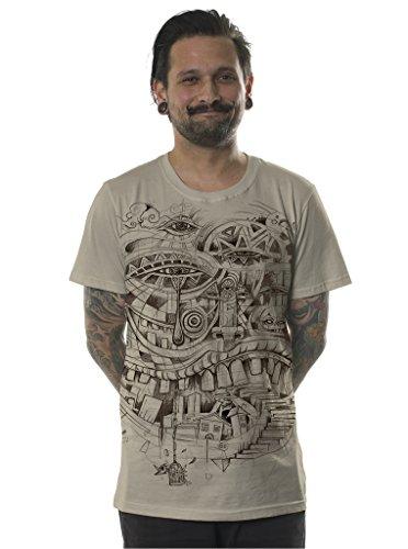 Herren Urban T-Shirt Illuminati Stadttreppe Grafik Sand Alternativ Trippig Top Braun