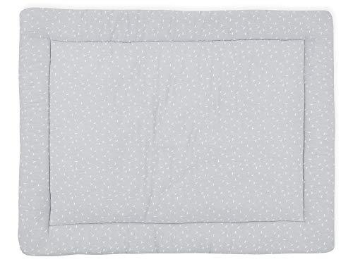 KraftKids Krabbeldecke Musselin grau Pusteblumen, gepolsterte Babydecke aus hochwertiger Baumwolle in den Maßen 100 x 135 cm