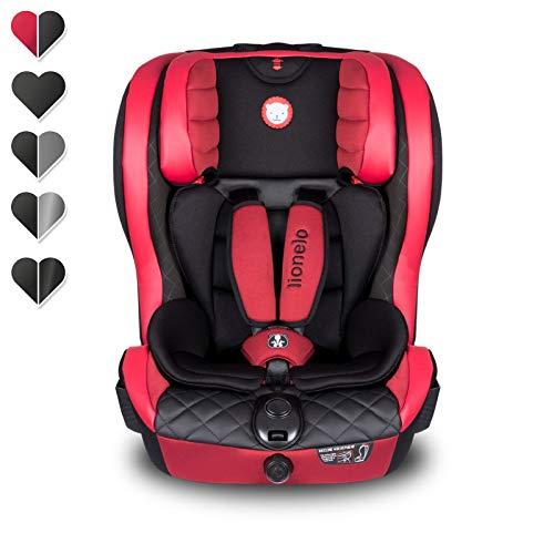 Lionelo Adriaan Kindersitz 9-36kg, Autokindersitz Gruppe 1 2 3, Isofix, Top Tether, Seitenschutz, Dri-Seat, ECE R 44/04 (Ökoleder Rot)