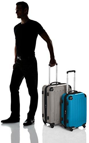 HAUPTSTADTKOFFER - Alex - 2er Koffer-Set Hartschale glänzend, TSA, 65 cm + 55 cm, 74 Liter + 42 Liter, Orange-Aubergine Graphit-Cyanblau