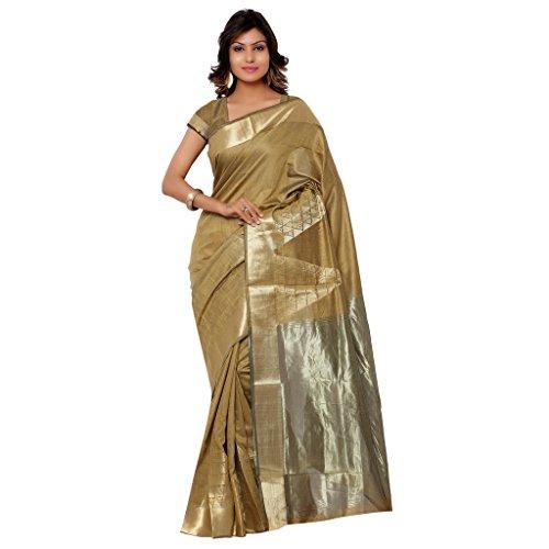 Varkala Silk Sarees Women's Cotton Banarasi Saree With Blouse Piece(DM3103BS_Khaki_Free Size)