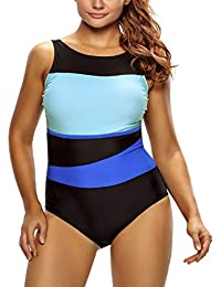 TheShoppingDiary Chic Color Block Accent Hollow-Out One Piece Swimsuit