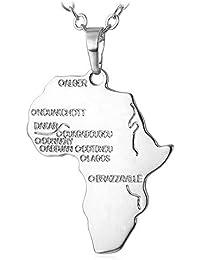 7c8c5abce299 U7 Collar de Acero Inxidable Colgante de Mapa de África con Topónimos  Plateado Dorado