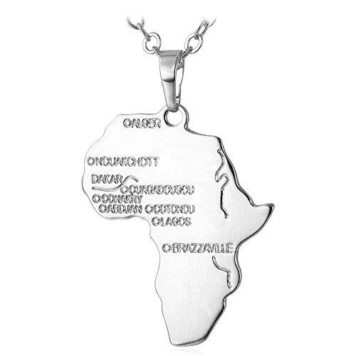 U7 Collar con Colgante de Mapa de África,...