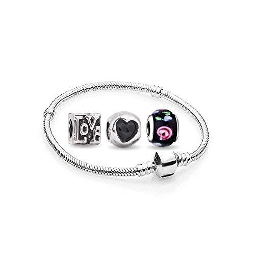 Damen Herz Charms Beads 1 Armband und 3 Anhänger Starter Set Angebot Zirkonia Murano Glas bettel Pandora Style Bead kompatibel 17cm - Ring, Halskette, Charms Geburtsstein