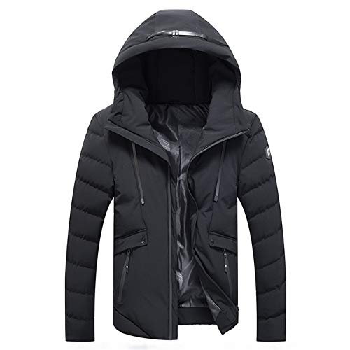Herren Draussen Gefüttert Baumwolle Kapuzen Zipeer Warm Verdicken Winter Baumwolle Jacke Mantel(XL,Schwarz)