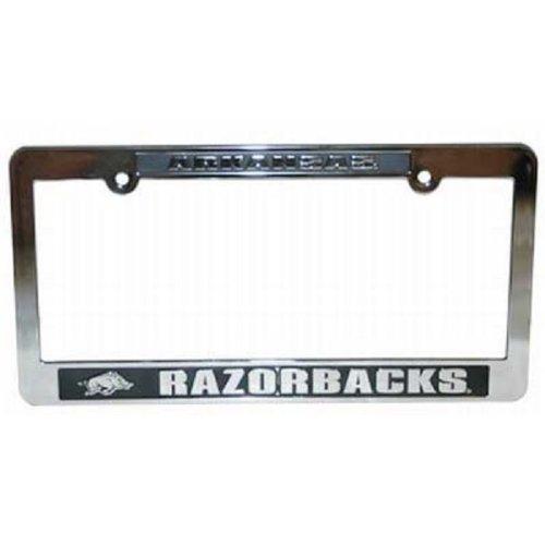 Arkansas Razorbacks Silver & Black Auto License Frame by Jenkins Enterprises - Arkansas Razorbacks Auto