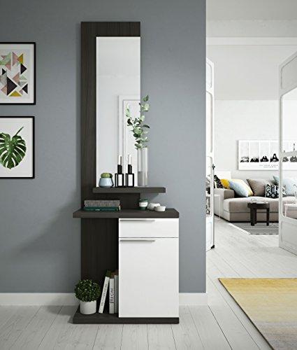 Fores Kendra - Recibidor, Gris/Blanco, 186 x 61 x 29 cm