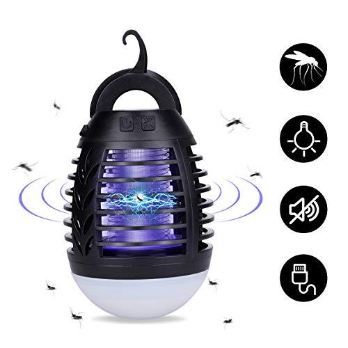 Lámpara Antimosquitos Portátil con Luz de Camping Antimosquitos Lámpara 2200mAh USB Recargable Asesino del Mosquito al Aire Libre con IP66 Impermeable y 3 brillo de Luz para Camping, Jardin, La pesca