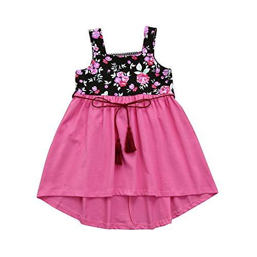 JUTOO Kleinkind Kleinkind Kinder Baby Mädchen Kleid Blumendruck Strap Sun Kleid + Gürtel Outfits (Rosa,140)