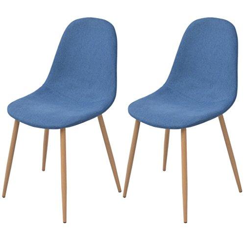 Festnight 2 Stk. Esszimmerstühle Essstuhl Stühle Küchenstühle Stoffpolsterung Küchen Sitzgruppe Esszimmer Stuhl-Set 45x55x85cm Blau