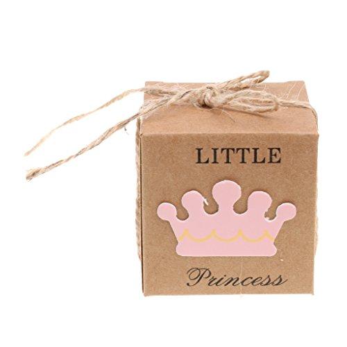 MagiDeal 50 Stück Kraftpapier Nettes Baby Hase Candy-Box Geschenk-Boxen Baby Shower Party - Rosa, 5,3 x 5,3 cm