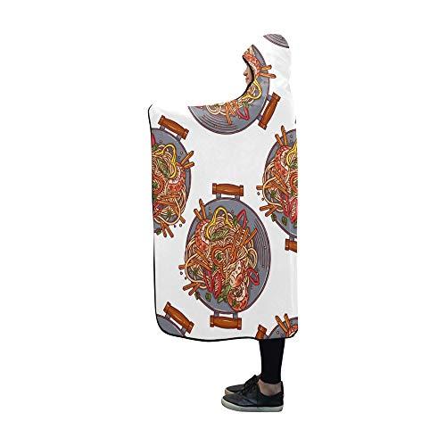 JOCHUAN Asiatische Wok-Decke mit Haube 60 x 50 Zoll Comfotable Mit Kapuze Wurfverpackung