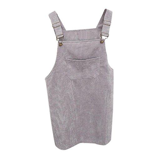 Kanpola Kleider Damen Herbst Cord Straps kurze Tasche gerade Weste Rock Kleid (Plissee-leder-kilt)