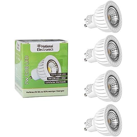 National Electronics GU10 COB | LED 7 W 560 lumens 60° | 4 Pack | Bombilla prolongan 60 W halógena 230 V luz blanca cálida