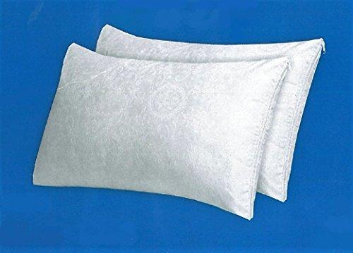 Fodere copriguanciale-copricuscini coppia federe salva cuscino bianche in cotone damasco cm 50x80 con zip