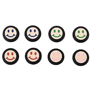 9CDeer 8 Stück Silikon Daumen Griffe Aufsätze Thumb Grip Thumbstick Joystick Analog Sticks Schutzkappe Cover Smiley-Gesicht Style für PS4, Xbox One, Switch PRO Controller ETC. Schwarz