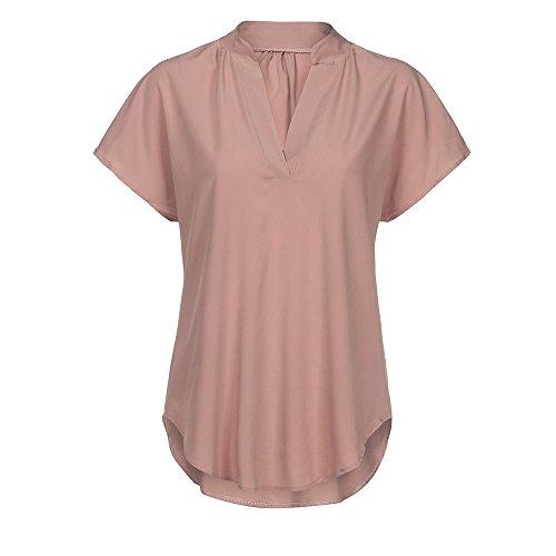 BHYDRY Frauen Langarm Knopf Bluse Pullover Tops Mit Taschen (EU-38/CN-S, Rose-pp)