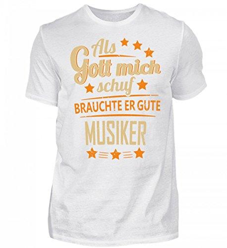 Shirtee Hochwertiges Herren Musiker Band - lusitges Geschenk Weiß