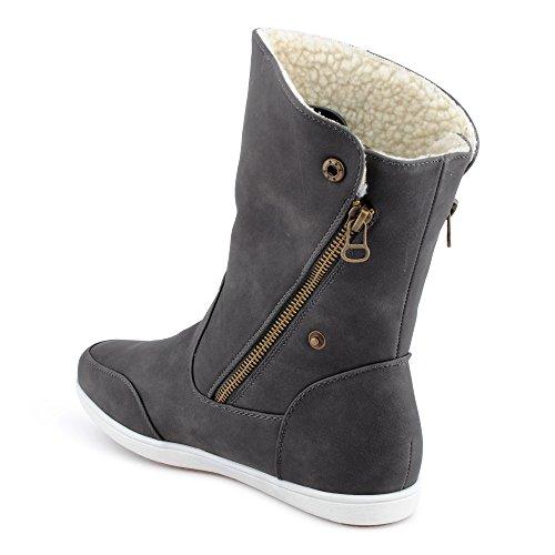 Damen Boots Flach Gefütterte Schlupf Stiefel Stiefeletten Grau EU 38