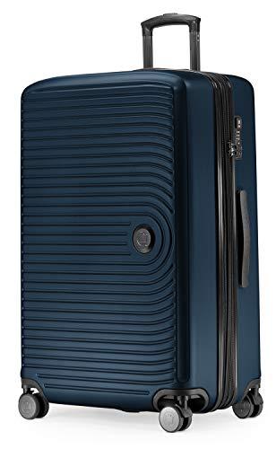 HAUPTSTADTKOFFER - Mitte - Grossa valigia a rotelle, Trolley rigido con estensione da 8 cm, TSA, con 4 ruote gommate doppie, 77 cm, 130 L, Blu scuro