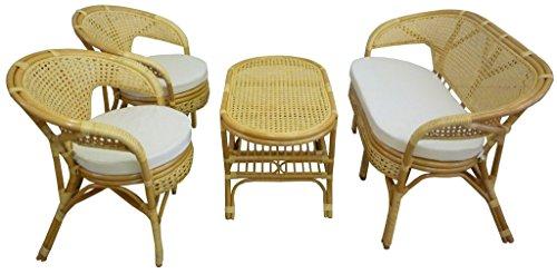 SAVINO FILIPPO SRL Set completo salotto in vimini bambù e rattan Bali chiaro naturale divano poltrone tavolo da giardino balcone terrazzo veranda casa portico
