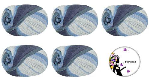 BANDY COLOUR 12, 5er SET 100g Knäuel WOOLLY HUGS aus allen Farben wählen: trendiges Bändchengarn, extrafeine 100% Baumwolle, Lauflänge 210m/100g, Nadelstärke 6-6.5 +Button FÜR DICH