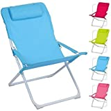 ADJUSTABLE FOLDING PADDED BEACH DECK CHAIR CAMPING GARDEN PATIO FOLDABLE SEAT (Red)