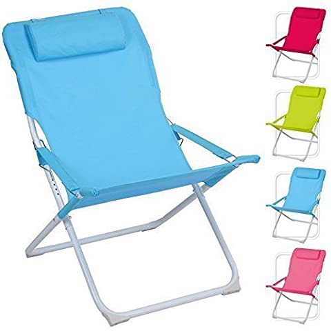 ADJUSTABLE FOLDING PADDED BEACH DECK CHAIR CAMPING GARDEN PATIO FOLDABLE SEAT (Green)