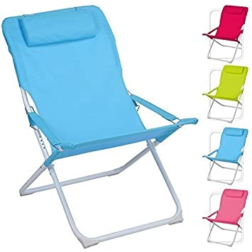 Adjustable Folding Padded Beach Deck Chair Camping Garden Patio Foldable Seat Green
