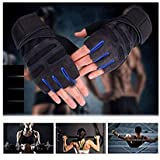 DreamPalace India Leather Wrist Support Gym and Fitness Gloves (Blue and Black)