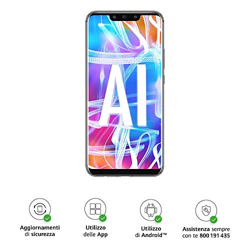 huawei mate 20 lite più flip cover nera originale, telefono con 64 gb, display 6.3 full hd, processore octa core con intelligenza artificiale, batteria da 3750 mah, nero (black)  [versione italiana]