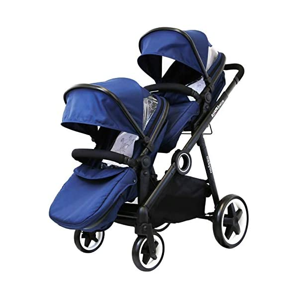 iSafe Me&You Inline Tandem Travel System with Second Seat & Rain Cover - Royal Blue iSafe Sleek & Eye Catching Matte Black Chassis, Weighing Only 16Kgs Easy One Second Fold, For Those Parents On The Go Soft Grip Extendable 3 Height Handle, To Suit Parents Of Any Height 2