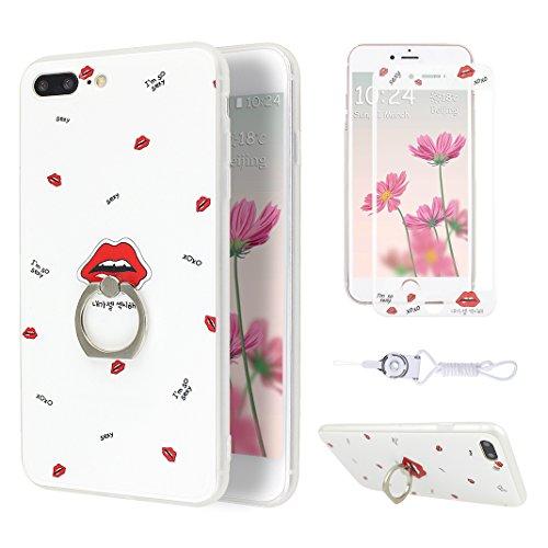 Etui iPhone 7 Plus TPU, Coque iPhone 7 Plus Case, Moon mood® 3D en Relief Peint Coque de Téléphone avec Anneau Support Protecteur d'écran TPU Étui Arrière Housse pour iPhone 7 Plus 5.5 pouce Téléphone Style-6