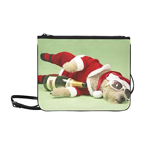 WYYWCY Samll Dog Santa Kostüm Liegen Benutzerdefinierte hochwertige Nylon Slim Clutch Crossbody Tasche Umhängetasche (Benutzerdefinierte Leder Kostüm)