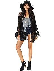 EJY Femmes dentelle noire florale mousseline creux kimono lâche cardigan veste cape chemisier