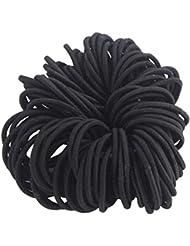 NALATI Lot de 100 Elastiques à Cheveux Noir Simple pour Femme/Fille Bandeaux de Queue de Cheval Chouchou Accessoires pour Cheveux Noir Accessoire de Coiffeur (Diamètre 5cm, Noir)