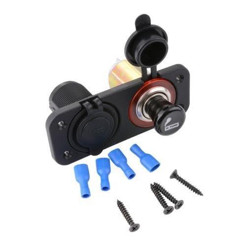 MMOBIEL Universal Wasserdicht Steckdose 12V-24V Ausgabe 5V 2.1A + Zigarettenanzünder Anschlüsse und 2 USB Port mit LED Indikator für Boot Motorrad Rasenmäher Tracktor RV ATV Auto inkl Anschluss Set