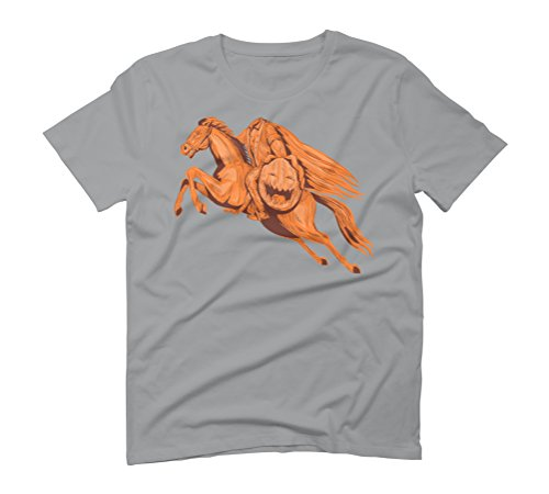Headless Horseman Pumpkin Head Drawing Men's Small Opal Graphic T-Shirt - Design By Humans