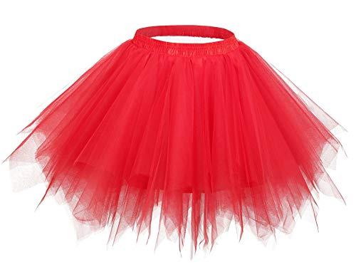 Comall Damen Kurz Tutu Rock Petticoat Ballettrock Tuturock Unterrock Tüll Unterkleid ()