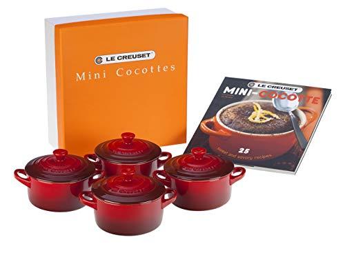 Le Creuset 91006900060010 Set de mini cocottes, Redondas, Cerámica de gres, Rojo Cereza