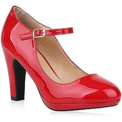 Stiefelparadies Mujer Chancla de tacón Mercedita con tacón Laca 153256 Rojo 40 Flandell