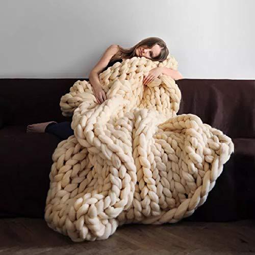 Nishiguang Grobstrick Kuscheldecke Handgefertigt Dick Wolle Klobigen Stricken Überwurf für Schlafzimmer Decor Super Groß, Bett Sofa Pet Matte 47