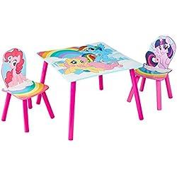Hello Home Conjunto Infantil de Mesa y Dos Sillas, Madera, Rosa, 63.0x63.0x52.5 cm
