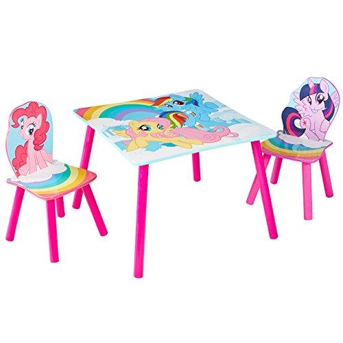 My Little Pony Mon Petit Poney-Ensemble Table et 2 Chaises pour Enfants, Bois, Bleu, 63 x 63 x 52,5 cm