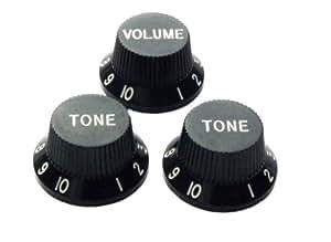 Pack of 3 Stratocaster Knobs - 1 Volume, 2 Tone - Black