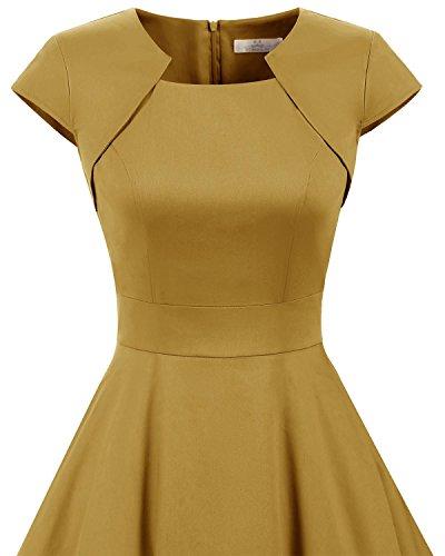 Homrain Damen 50er Vintage Retro Kleid Party Kurzarm Rockabilly Cocktail Abendkleider Ginger