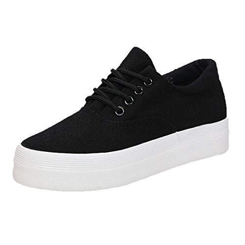 Azbro Classical Lace-up Platform Sneakers For Woman Black