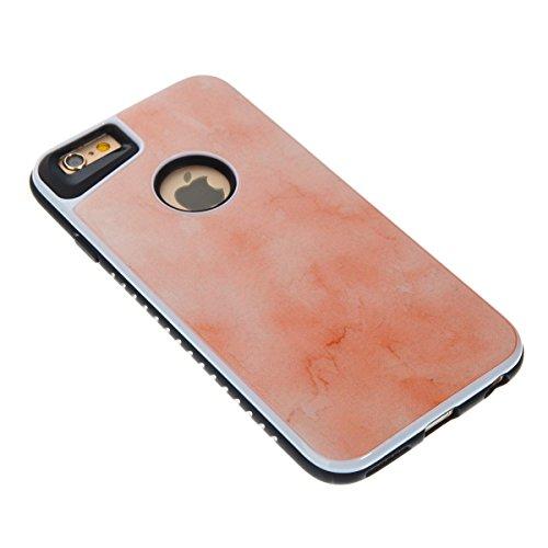Étui en marbre iPhone 6, Coque iPhone 6s,Lifetrut [Modèle de marbre] Pare-chocs Arrière Doux 2 en 1 Housse en Silicone en Caoutchouc TPU pour iPhone 6 [Bleu ciel] E201-Orange