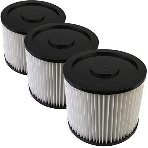DeClean Filter Lamellenfilter,Luftfilter,Filterpatrone Ersatzteil für Nass-Trockensauger waschbar 3 Rundfilter Parkside PNTS Modelle: 1500 A1,B2, B3